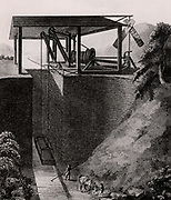 Perpendicular Canal Lift. Cranes hoisted a tub boat, the weight of which was counterbalanced by tub of water in shaft parallel to path of boat. Semaphore signal indicated status of boat. Not found practicable.   From 'A Treatise on the Improvement of Canal Navigation' by Robert Fulton (London, 1796).  Robert Fulton (1765-1815) American engineer. Engraving.