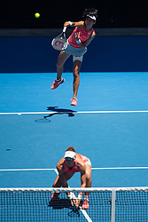 MELBOURNE, Jan. 21, 2019  Zhang Shuai of China (Top) and Samantha Stosur of Australia compete during their women's doubles third round match against Alize Cornet of France and Petra Martic of Croatia at 2019 Australian Open in Melbourne, Australia, on Jan. 21, 2019. (Credit Image: © Elizabeth Xue Bai/Xinhua via ZUMA Wire)