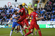 Goalkeeper Jason Steele of Blackburn Rovers punches the ball clear. Skybet football league championship match, Reading  v Blackburn Rovers at The Madejski Stadium  in Reading, Berkshire on Sunday 20th December 2015.<br /> pic by John Patrick Fletcher, Andrew Orchard sports photography.
