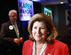 Rep. Karen Handel, (R-Ga.), 6th Congressional District, joins her husband Steve in thanking supporters while making an early appearance at her election watch party on Tuesday, Nov. 6, 2018, in Atlanta. Photo by Curtis Compton/Atlanta Journal-Constitution/TNS/ABACAPRESS.COM