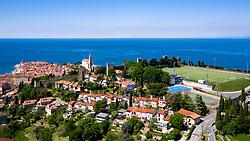 Aerial view of football stadium and historic city Piran, on May 4, 2020 in Piran, Slovenia. Photo by Matic Klansek Velej / Sportida