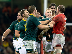 Tempers flare Alun Wyn Jones of Wales Duane Vermeulen of South Africa<br /> <br /> Photographer Simon King/Replay Images<br /> <br /> Under Armour Series - Wales v South Africa - Saturday 24th November 2018 - Principality Stadium - Cardiff<br /> <br /> World Copyright © Replay Images . All rights reserved. info@replayimages.co.uk - http://replayimages.co.uk