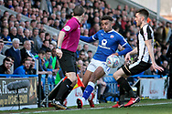 Chesterfield forward Jacob Brown (44) keeps this one in during the EFL Sky Bet League 2 match between Chesterfield and Notts County at the Proact stadium, Chesterfield, England on 25 March 2018. Picture by Nigel Cole.