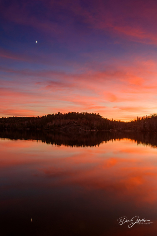 Simon Lake at sunset, Greater Sudbury, Ontario, Canada
