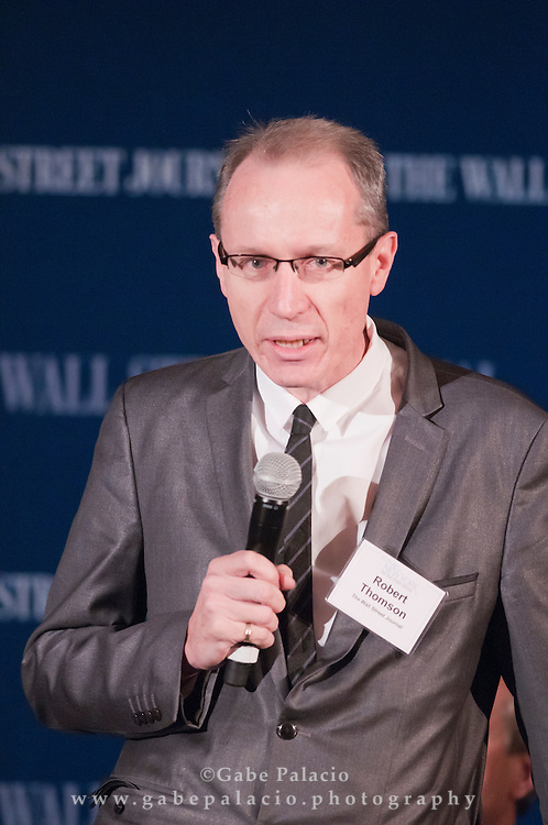 Robert Thomson, editor-in-chief and Managing Editor of the Wall Street Journal, makes the welcoming remarks for The WSJ Future of New York series on Philanthropy in New York featuring Robert Frank, Senior Writer of the Wall Street Journal, Geoffrey Canada, CEO of Harlem Children's Zone, Grace Hightower De Niro, Board Member of New York Women's Foundation, and Robert Kennedy, Jr, President, Waterkeeper Alliance and chief prosecuting attorney of Hudson Riverkeeper, in New York City on April 8, 2011.  (photo by Gabe Palacio)
