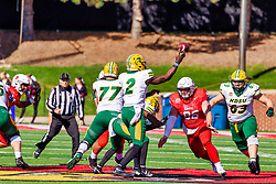 NORMAL, IL - October 16: Jake Kubas persues Jacob Powell who is pursuing Quincy Patterson who is making a pass during a college football game between the NDSU (North Dakota State) Bison and the ISU (Illinois State University) Redbirds on October 16 2021 at Hancock Stadium in Normal, IL. (Photo by Alan Look)