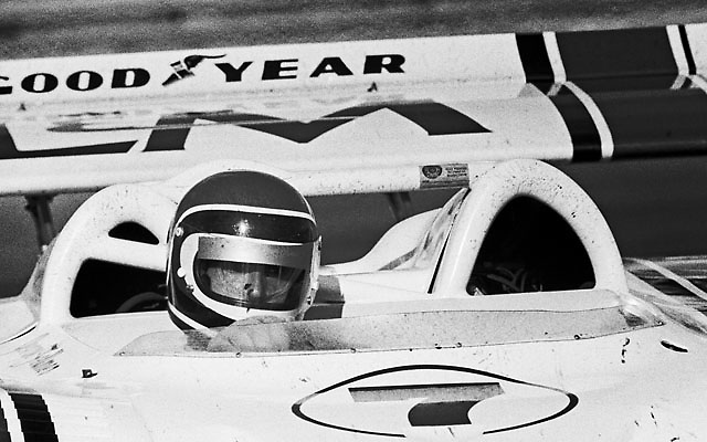 George Follmer (Porsche 917/10K) at Laguna Seca Can-Am 1972, the race in which he clinched the Championship; photo by Gerald Schmitt / www.petelyons.com