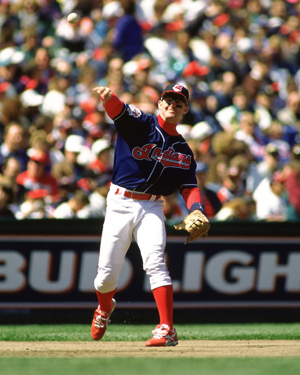 OAKLAND - 1995:  Jim Thome of the Cleveland Indians fields during an MLB game at the Oakland Coliseum in Oakland, California during the 1995 season. (Photo by Ron Vesely) Subject:   Jim Thome