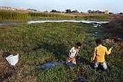 Two boys are collecting grass for their family's goats inside of a large evaporation pool once used by Union Carbide for their industrial wastewater, next to Blue Moon, one of the contaminated colonies next to the abandoned Union Carbide (now DOW Chemical) industrial complex, in Bhopal, Madhya Pradesh, central India. In this area, hazardous chemical have also been buried and continue to contaminate the underground aquifers.