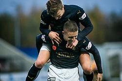 Falkirk's John Baird cele scoring their third goal. <br /> Falkirk 5 v 0 Alloa Athletic, Scottish Championship game played at The Falkirk Stadium. © Ross Schofield