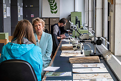 Pictured: Roseanna Cunningham<br /><br />Climate Change Secretary Roseanna Cunningham visited the Royal Botanic Gardens today ahead of the debate on Stage 3 of Scotland's new Climate Change Bill.  While at the RBG, Alexandra Davey, Science Policy and Impact Officer, showed Ms Cunningham some to the 3.5million specimens of plants, some of which are no longer found in the native habitat, used by the RBG as one of the leading centres of botanical research in the world<br /><br />Ger Harley | EEm 25 September 2019