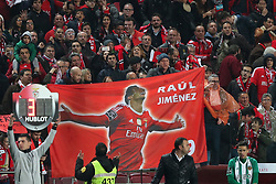 February 3, 2018 - Lisbon, Portugal - Fans show a flag with Benfica's Mexican forward Raul Jimenez after he scores a goal during the Portuguese League football match SL Benfica vs Rio Ave FC at the Luz stadium in Lisbon on February 3, 2018. (Credit Image: © Pedro Fiuza/NurPhoto via ZUMA Press)