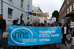 © licensed to London News Pictures. LEWES, UK. 25/06/2011. Demonstrators march through Lewes in a protest against government cuts and to save the National Health Service (NHS) . Please see special instructions for licensing information. Photo credit should read: Peter Webb/LNP
