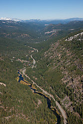 """""""Truckee River Aerial"""" - Photograph of the Truckee River in Tahoe, shot from an amphibious seaplane with the door removed."""