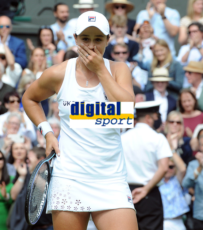 Lawn Tennis - 2021 All England Championships - Week Two - Thursday - Wimbledon - Ladies Semi Final . Ashleigh Barty v Angelique Kerber <br /> <br /> Ashleigh Barty of Australia shows her emotion after winning the match<br /> <br /> Credit : COLORSPORT/Andrew Cowie