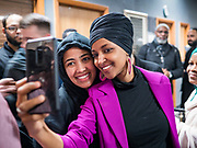 31 JANUARY 2020 - DES MOINES, IOWA: U.S. Representative ILHAN OMAR (D-MN) poses for a selfie at the Muslim Community Organization Mosque in Des Moines. She was there speaking on behalf of Senator Bernie Sanders' presidential campaign. Rep. Omar has campaigned for Senator Sanders in Iowa and Minnesota. The Iowa caucuses are Feb. 3.    PHOTO BY JACK KURTZ