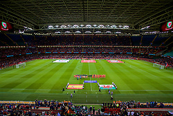 CARDIFF, WALES - Thursday, October 11, 2018: Wales and Spain players line-up for the national anthems before the International Friendly match between Wales and Spain at the Principality Stadium. (Pic by Laura Malkin/Propaganda)