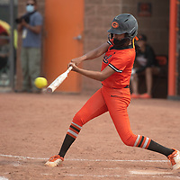 SJ Haines (5) bats for the Gallup Bengals during their varsity softball game against the Bernalillo Spartans Tuesday in Gallup.