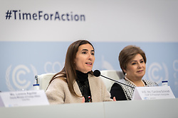 4 December 2019, Madrid, Spain: COP president Carolina Schmidt speaks at a press conference at COP25 in Madrid.