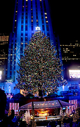 The Christmas Tree is lit for the first time of the season at the annual Christmas Tree Lighting Ceremony at Rockefeller Center in New York City, NY, USA, on November 30, 2016. Thousands of revelers crowded the sidewalks for the event. The Tree will remain lit and can be viewed until 9pm on January 7, 2017. Photo by Dennis Van Tine/ABACAPRESS.COM