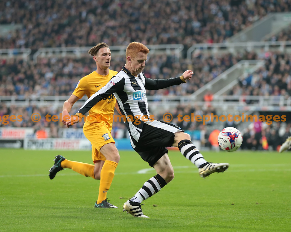 Newcastle United midfielder Jack Colback (4) crosses the ball during the EFL Cup Round Four match between Newcastle United and Preston North End at St. James' Park in Newcastle. October 25, 2016.<br /> Nigel Pitts-Drake / Telephoto Images<br /> +44 7967 642437
