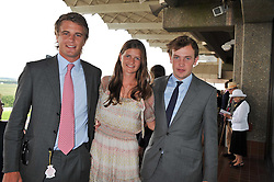 Left to right, HARRY WENTOWORTH-STANLEY, LOUISA WENTWORTH-STANLEY and the EARL OF MEDINA at the 3rd day of the 2011 Glorious Goodwood Racing Festival - Ladies Day at Goodwood Racecourse, West Sussex on 28th July 2011.