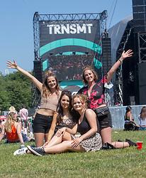 Emma Turnbull, Robyn Miller, Laura McAllister snd Adrienne Bradburn. Fans in the main arena on Friday 29th June at TRNSMT 2018.
