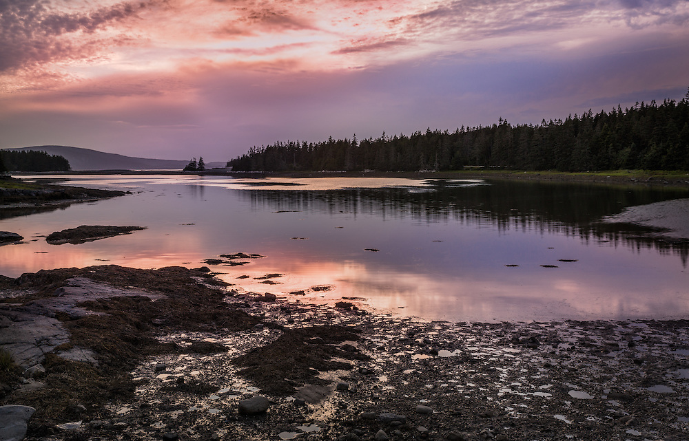 The twilight seemed to last forever as the colors faded slowly over a secluded cove on the Schoodic Peninsula.