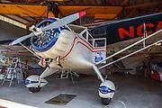 1934 Stinson Reliant SR-5E in the hangar at Oregon Aviation Historical Society.