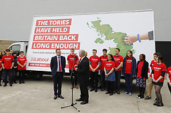 © Licensed to London News Pictures. 11/05/2017. London, UK. Labour MP IAN LAVERY unveils his party's new election campaign poster in South Bank, London after Labour leader Jeremy Corbyn pulls out of the event following the manifesto leak on 11 May 2017. Photo credit: Tolga Akmen/LNP