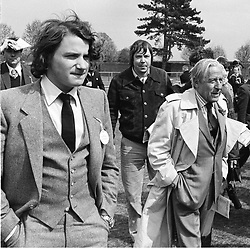 MR CONSTANTINE NIARCHOS and his father MR STAVROS NIARCHOS at a 2,000 Guineas race meeting at Newmarket in May 1980<br /> IOC 38