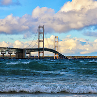 """""""Mackinac Among the Waves""""<br /> <br /> Mackinac Bridge an amazingly beautiful suspension bridge with large waves rolling through the straights of Mackinac, and lovely puffy clouds moving through the sky!<br /> <br /> Mackinac Bridge by Rachel Cohen"""