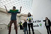 The Reclaim Shakespeare Company did four performances in the court yard of the British Museum supported by a large flash-mob  audience. The company is made up of activists who wants The Royal Shakespeare company stop accepting sponsorship from the oil company BP. BP also sponsor the Tate museums and the British Museum. The flashmob was organised by the anti-oil activist groups The Reclaim Shakespeare Company,<br /> Rising Tide, Liberate Tate, the UK Tar Sands Network and Art Not Oil. The Royal Shakespeare Company has publicly announced they will stop their partnership with BP and the performance was therefor the last by the Reclaim the Shakespeare Company activists after a long run of successful interventions.