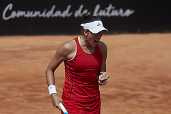 April 21, 2018 - La Manga, Murcia, Spain - Garbine Muguruza of Spain reacts in his match against Montserrat Gonzalez of Paraguay during day one of the Fedcup World Group II Play-offs match between Spain and Paraguay at Centro de Tenis La Manga Club on April 21, 2018 in La Manga, Spain  (Credit Image: © David Aliaga/NurPhoto via ZUMA Press)