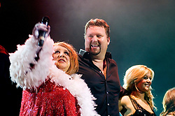 Peter Kay in character as Geraldine McQueen with Singer Song writer Elliot Kennedy for a Christmas Charity Concert at Sheffield City Hall in Aid of Weston Park  Cancer Hospital & Cavendish Cancer Charity   (Peter Kay)<br />