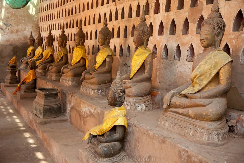 Vientiane, Laos. Wat Si Saket, the oldest Bhuddhist temple in Vientiane.