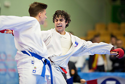 Tobias Adlberger of Austria  (blue) fighting against Jan Merc of Slovenia (red) during Kumite Individual male Seniors -84kg at Day One of Karate 1 World Cup - Thermana Slovenia Lasko 2014 tournament, on March 15, 2014 in Arena Tri Lilije, Lasko, Slovenia.Photo by Vid Ponikvar / Sportida