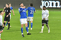 Football - 2020 / 2021 Sky Bet Championship - Swansea City vs Cardiff City - Liberty Stadium<br /> <br /> Cardiff celebrate victory as referee Mr Paul Tierney  blows the final whistle  in the South Wales local derby match<br /> <br /> COLORSPORT/WINSTON BYNORTH
