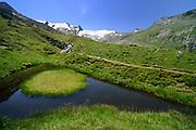 Mountain lake (Auge Gottes) with Glacier (Schlatenkees, Großglockner) in the background. High Tauern National Park (Nationalpark Hohe Tauern), Central Eastern Alps, Austria | Bergteich (Auge Gottes) mit Blick auf das Schlatenkees ein Gletscher am Großglockner. Nationalpark Hohe Tauern, Osttirol in Österreich