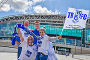 Tranmere Rovers fans start to gather outside Wembley during the Vanarama National League Play Off Final match between Tranmere Rovers and Forest Green Rovers at Wembley Stadium, London, England on 14 May 2017. Photo by Adam Rivers.