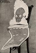 Henrik Ibsen (1928-1906) Norwegian dramatist.  Cartoon published in London in 1902.