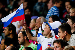 Slovenian fan during friendly football match between National teams of Slovenia and Belgium, on August 10, 2011, in SRC Stozice, Ljubljana, Slovenia. (Photo by Matic Klansek Velej / Sportida)