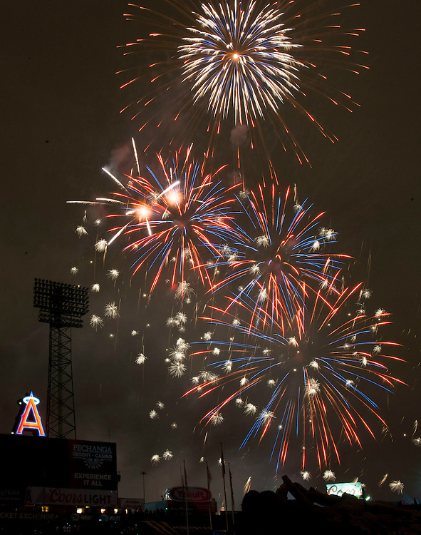 Fireworks explode over the center field wall after the Angels' 4-2 loss to the Houston Astros Saturday at Angel Stadium.<br /> <br /> ///ADDITIONAL INFO:   <br /> <br /> angels.0529.kjs  ---  Photo by KEVIN SULLIVAN / Orange County Register  -- 5/28/16<br /> <br /> The Los Angeles Angels take on the Houston Astros Saturday at Angel Stadium.