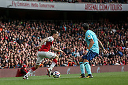Hector Bellerin of Arsenal goes past Charlie Daniels of AFC Bournemouth . Premier league match, Arsenal v AFC Bournemouth at the Emirates Stadium in London on Saturday 9th September 2017. pic by Kieran Clarke, Andrew Orchard sports photography.