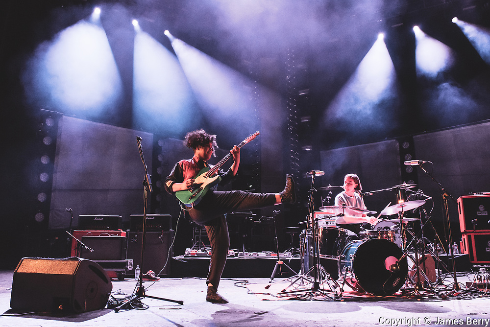 Sacred Paws perform live at O2 Academy Brixton on Friday 15 December 2017, supporting Mogwai. Picture shows Rachel Aggs and Eilidh Rodgers.