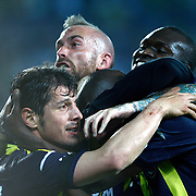 Fenerbahce's Pierre Achille Webo Kouamo celebrate his goal with team mate during their Turkish superleague soccer derby match Fenerbahce between Galatasaray at the Sukru Saracaoglu stadium in Istanbul Turkey on Sunday 12 May 2013. Photo by Aykut AKICI/TURKPIX