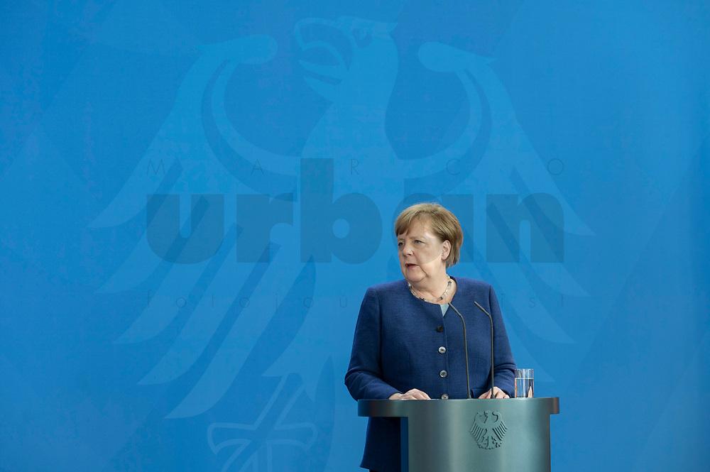 20 MAY 2020, BERLIN/GERMANY:<br /> Angela Merkel, CDU, Budneskanzlerin, gibt ein Pressestatement zur vorangegangenen Videokonferenz mit den mit den Vorsitzenden internationaler Wirtschafts- und <br /> Finanzorganisationen, Bundeskanzleramt<br /> IMAGE: 20200520-01-015<br /> KEYWORDS: Pressekonferenz