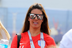 Rebekah Vardy, wife of Jamie Vardy prior to the FIFA World Cup, Quarter Final match at the Samara Stadium.