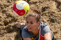 Esther van Berkel in action. The DELA NK Beach volleyball for men and women will be played in The Hague Beach Stadium on the beach of Scheveningen on 22 July 2020 in Zaandam.