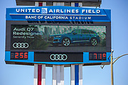 Los Angeles Memorial Coliseum sign with new sponsor United Airlines Field along the Interstate 110 freeway in the wake of the coronavirus COVID-19 pandemic, Wednesday, May 20, 2020. in Los Angeles, Calif. (Jevone Moore/Image of Sport)